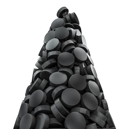 icehockey: Hockey pucks peak, 3D render of piled hockey pucks