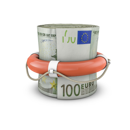 money roll: Life ring money roll euros, 3D render of life ring around rolled up hundred euro notes