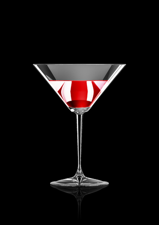 elegant party: Cocktail, 3D render of red liquid in tall cocktail glass Stock Photo