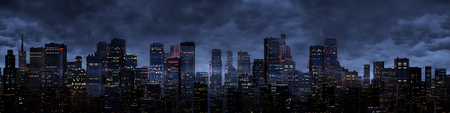 dark city: Night city panorama, 3D render of night time modern city under storm clouds Stock Photo