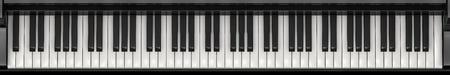 Pianotoetsen panorama, 3D renderen van volledige vleugelpiano toetsenbord