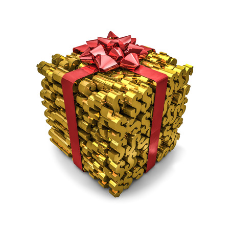 gift wrapped: Money gift dollars, 3D render of gift wrapped dollar symbols Stock Photo
