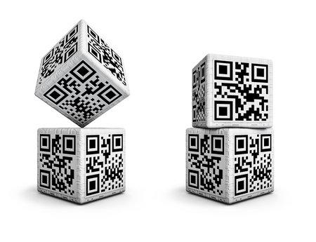 qrcode: QR code dice, 3D render of dice with qr codes for numbers 1 through 6 on sides