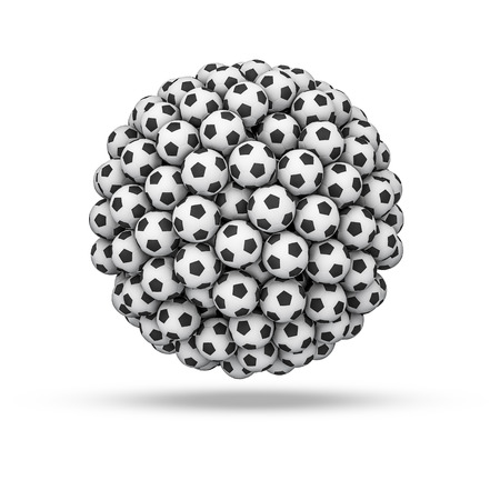 soccerball: Soccer ball sphere, 3D render of soccer balls forming sphere Stock Photo