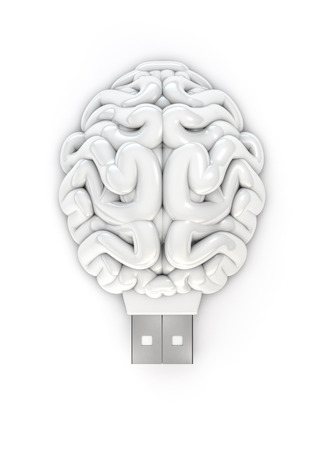 memory stick: Usb brain, 3D render of brain as usb memory stick