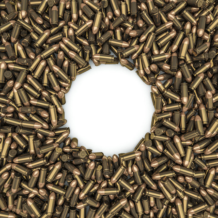 9mm ammo: Bullets frame, 3D render of 9 mm bullets Stock Photo