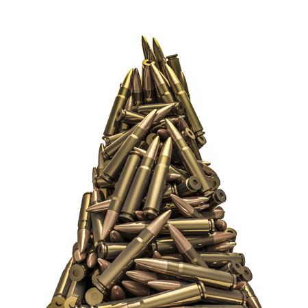 Rifle bullets peak, 3D render of piled rifle bullets Stock Photo