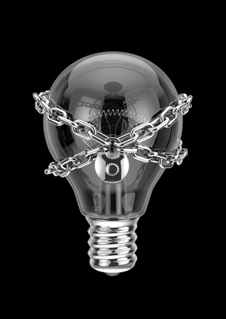 properties: Intellectual property, 3D render of light bulb with lock and chain