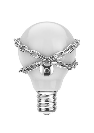 trade secret: Intellectual property, 3D render of light bulb with lock and chain