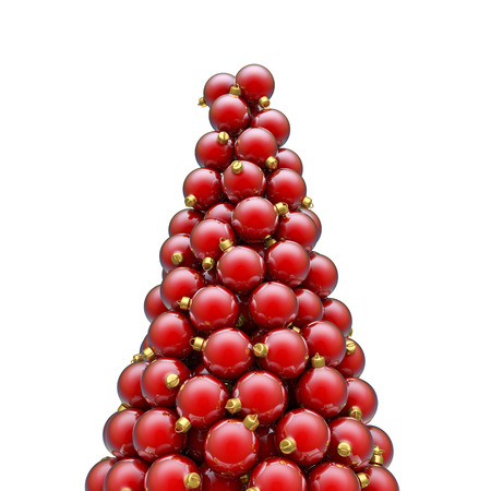 christmas ornaments: Christmas ornaments peak red, 3D render of piled christmas ornaments