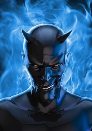 hellfire: The devil in black, 3D render of grinning black devil and blue hellfire Stock Photo