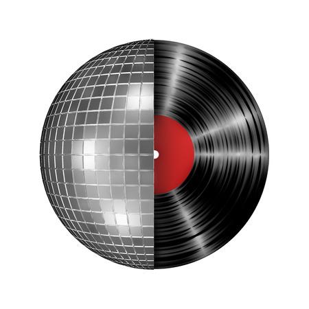 디스코 공 비닐 레코드, 디스코 공 및 비닐 레코드의 3D 렌더링 스톡 콘텐츠