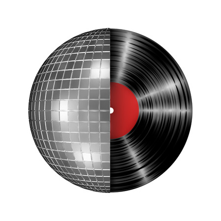 Disco ball vinyl record, 3D render of disco ball and vinyl record