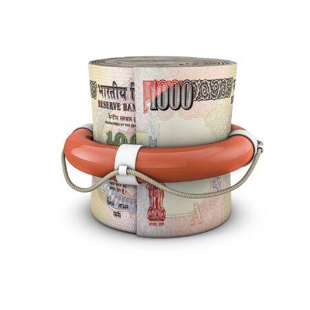cash money: Vida rupias rollo de dinero anillo, 3d de anillo de vida alrededor de enrollado mil notas de la rupia