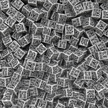 QR code dice background, 3D render of dice with qr codes for numbers 1 through 6 on sides