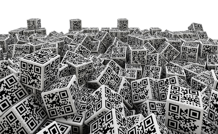 qrcode: QR code dice pile, 3D render of dice with qr codes for numbers 1 through 6 on sides