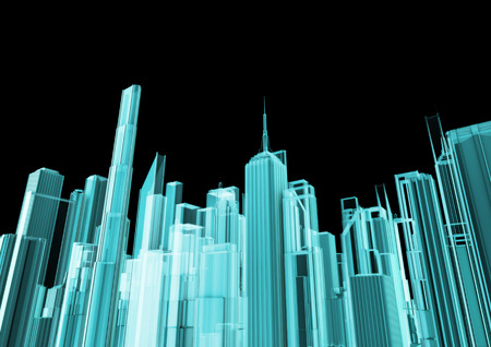 Holographic city, 3D render of glowing holographic view of modern city