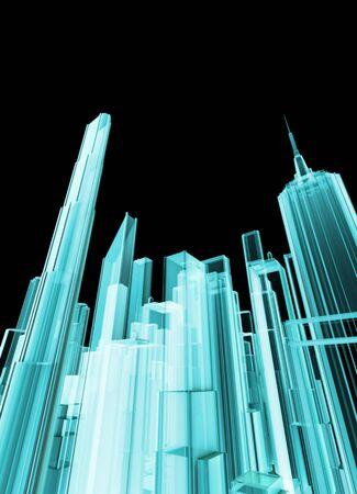 홀로 그래픽 도시, 현대 도시의 빛나는 홀로그램보기의 3D 렌더링