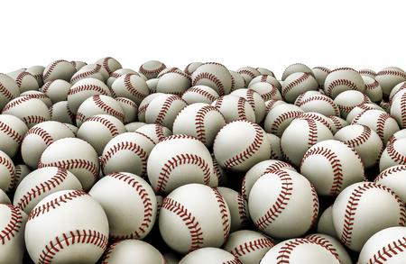 campo de beisbol: Baseballs pila, 3d de pelotas de béisbol apilados