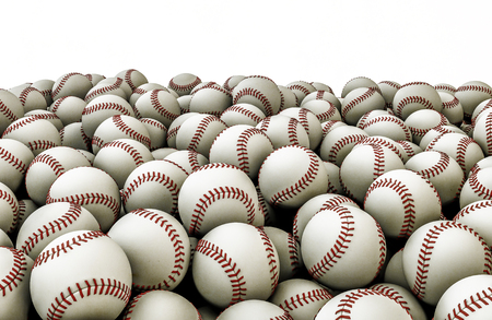 Baseballs pile, 3D render of piled baseballs Stock Photo