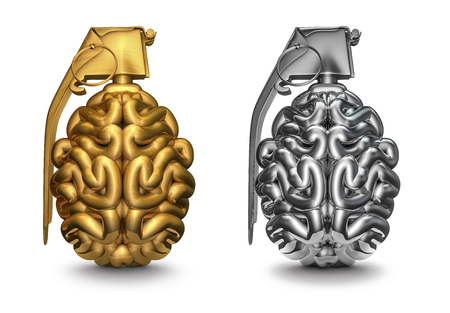 Brain grenade, 3D render of brain as grenade in gold and silver Stock Photo