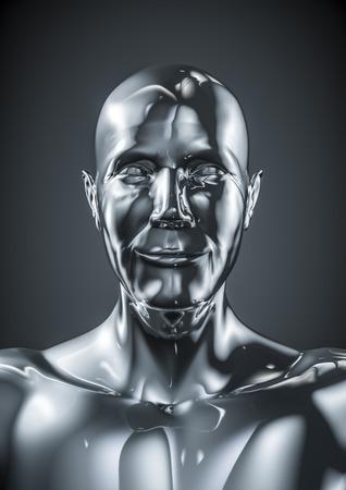 chrome man: Chrome joy male, 3D render of smiling male cyborg Stock Photo