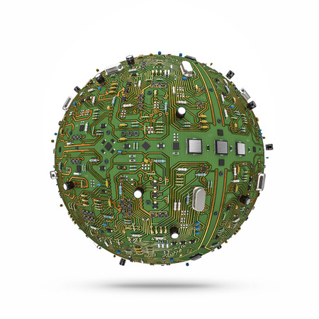 Data ball, 3D render of sphere covered with highly detailed computer circuit board Stok Fotoğraf