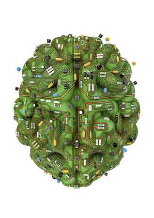 Circuit brain  3D render of brain made of computer circuit board Stock Photo