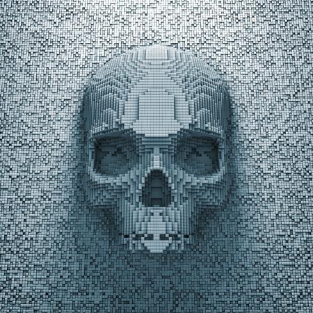 calavera pirata: Pixel cráneo 3D de cráneo pixelada Foto de archivo