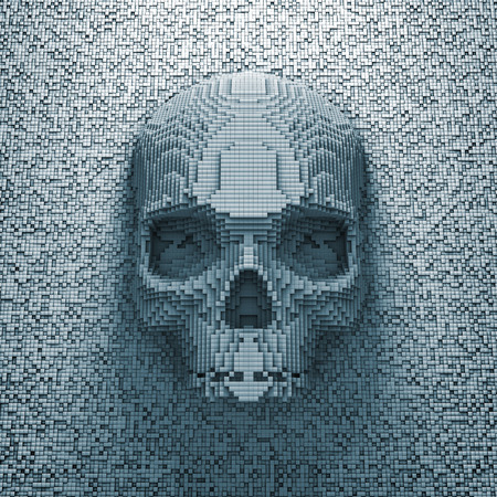 Pixel skull  3D render of pixelated skull