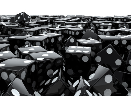 Black dice pile  3D render of piled black dice Stock Photo