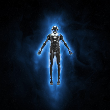 god 3d: Disco god  3D render of silver male figure with headphones and disco shades rising engulfed in blue flame into the night sky