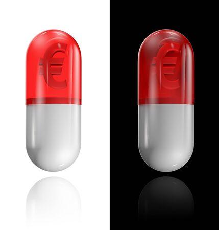 euro symbol: Euro pill  3D render of euro symbol inside medical capsule