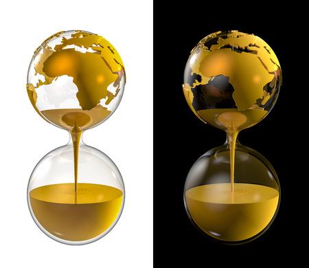 세계 황금 모래 시계, 골드로 가득 모래 시계로 세계 글로브의 3D 렌더링 스톡 콘텐츠