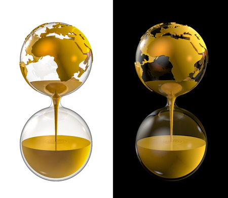 World gold hourglass, 3D render of world globe as hourglass filled with gold Stock Photo