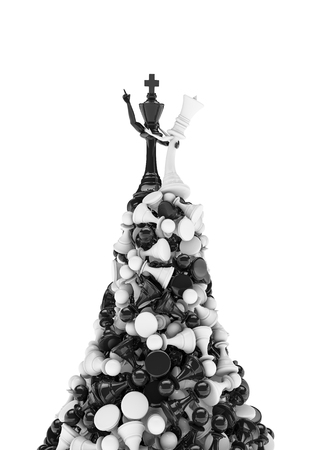 hill of the king: King of the hill, 3D render of black chess king and white queen on mountain of pawns