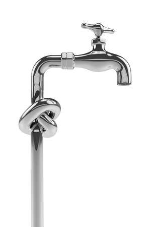 plumbing supply: Knot tap, 3D render of chrome tap with knotted pipe