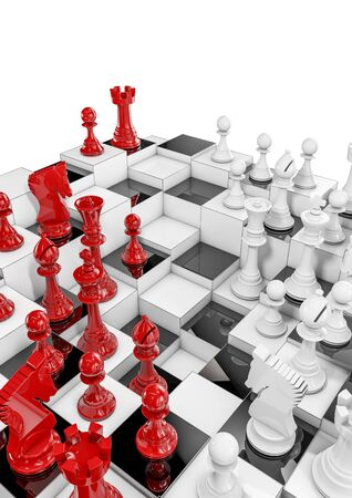 pawn to king: Multilayer chess, 3D render of multilayered chess set