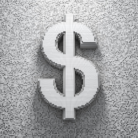 dollar symbol: Pixel dollar, 3D render of pixelated dollar symbol