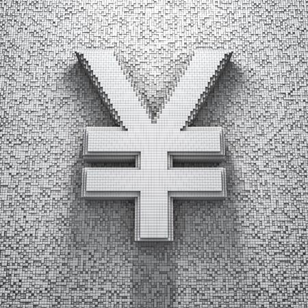 pixelated: Pixel yen, 3D render of pixelated yen symbol