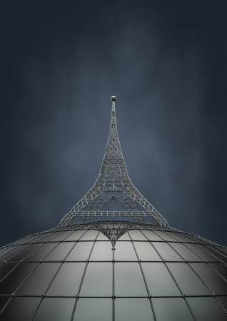 communication tower: Communication tower, 3D render of communication tower rising from metal globe