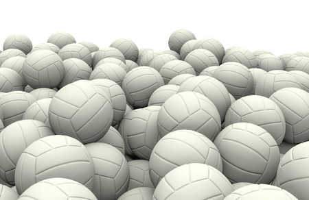 soccerball: White soccer balls pile, 3D render of piled soccer balls Stock Photo