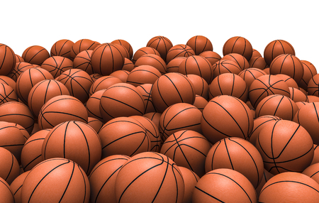 Basketballs pile, 3D render of piled basketballs Stock Photo