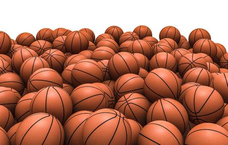 Basketballs pile, 3D render of piled basketballs Archivio Fotografico