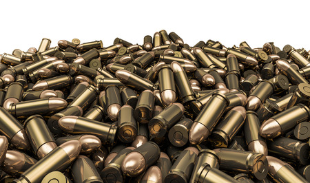 Bullets pile, 3D render of 9 mm bullets Stock Photo