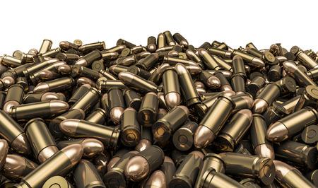 Bullets pile, 3D render of 9 mm bullets Archivio Fotografico