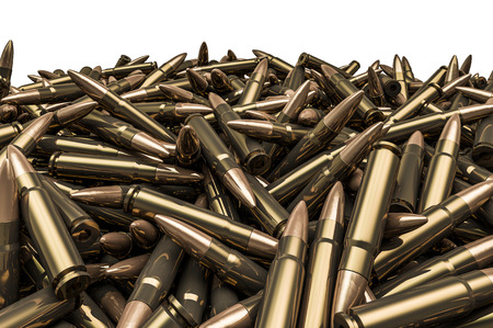Rifle bullets pile, 3D render of hundreds of rifle bullets 스톡 콘텐츠
