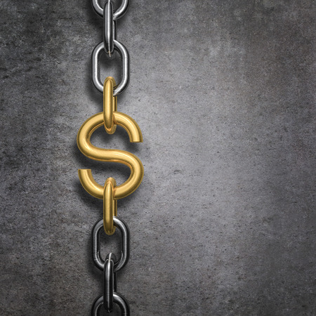 Chain link dollar, 3D render of metal chain with gold dollar symbol link against concrete background 写真素材