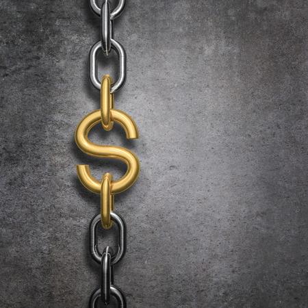 la union hace la fuerza: La conexi�n de cadena d�lar, 3D render de cadena de metal de oro enlace s�mbolo del d�lar contra el fondo de hormig�n