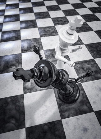 opponent: Checkmate knockout white, 3D render of chess king knocking out opponent with punch